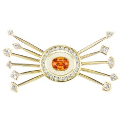 Museum Series Satellite Necklace with Diamonds and an Orange Sapphire