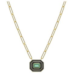 Museum Series Tourmaline and Black Enamel Necklace