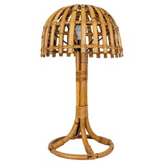 Mushroom Bamboo & Rattan Table Lamp Louis Sognot Style, France, 1960s