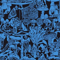 Mushroom City Designer Wallpaper in Asteroid 'Cobalt and Black'