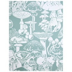Mushroom City Designer Wallpaper in Color Botanica 'Soft White on Frost Green'