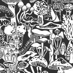 Mushroom City Designer Wallpaper in Color Contrast 'White on Soft Black'