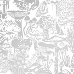 Mushroom City Designer Wallpaper in Color Glimmer 'Metallic Silver on White'