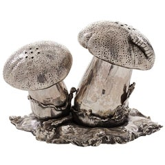 Mushroom Sterling Silver Salt and Pepper Cellar
