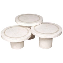 """""""Mushroom"""" Tables, White Ivory and Beige Fossil Stone - Set of Three"""