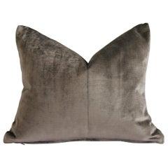 Mushroom Velvet and Linen Lumbar Pillow