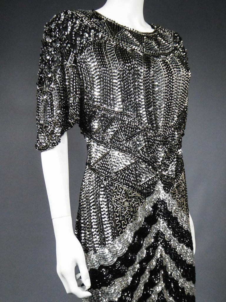 Music-Hall Evening Dress Embroidered with Black and Silver Sequins Circa 1980 For Sale 6
