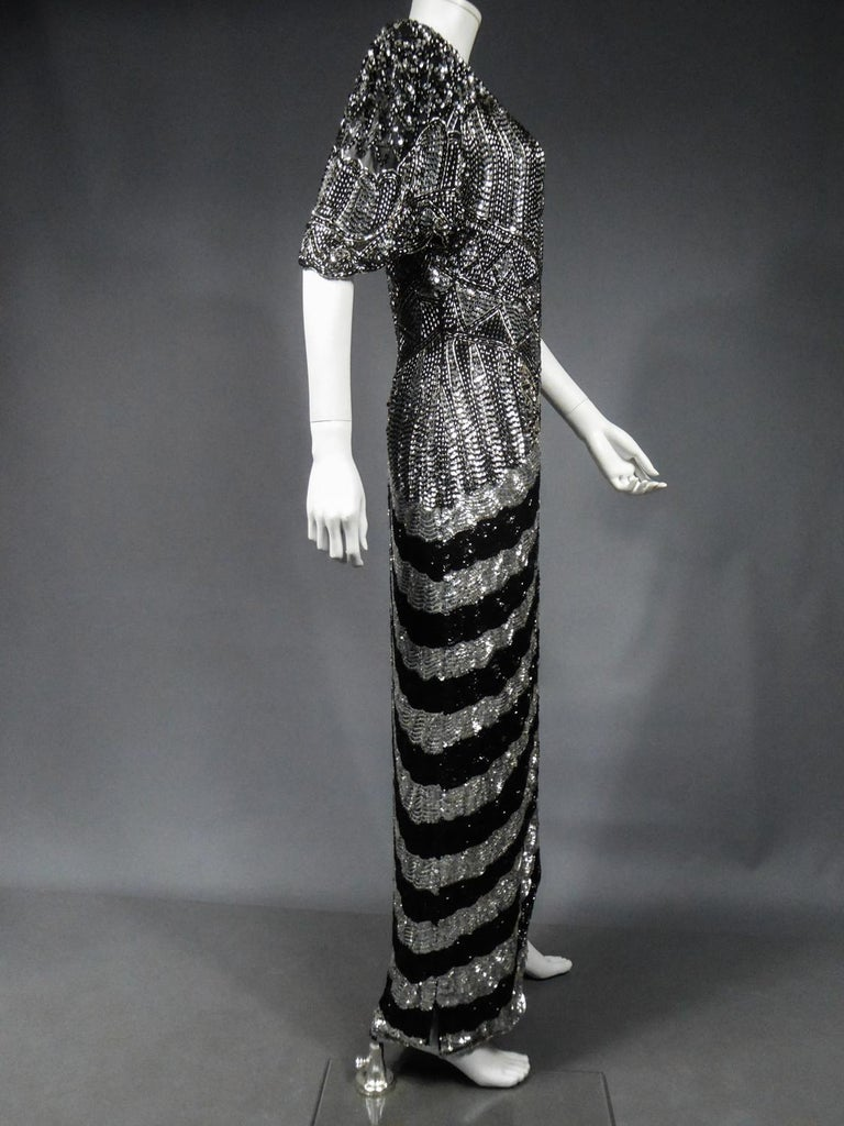 Music-Hall Evening Dress Embroidered with Black and Silver Sequins Circa 1980 For Sale 8