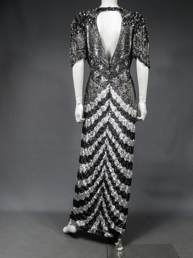 Music-Hall Evening Dress Embroidered with Black and Silver Sequins Circa 1980 For Sale 9