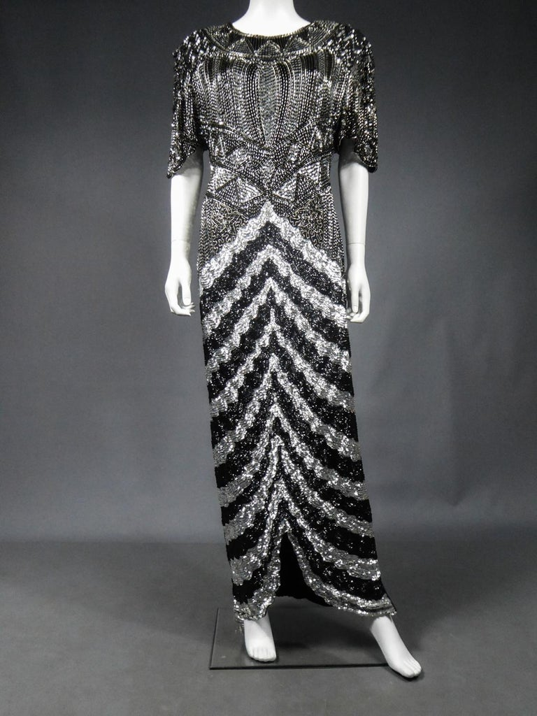 Women's Music-Hall Evening Dress Embroidered with Black and Silver Sequins Circa 1980 For Sale