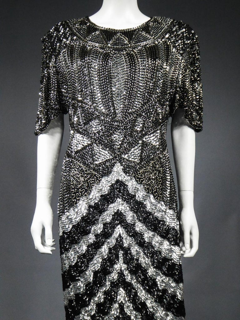 Music-Hall Evening Dress Embroidered with Black and Silver Sequins Circa 1980 For Sale 1