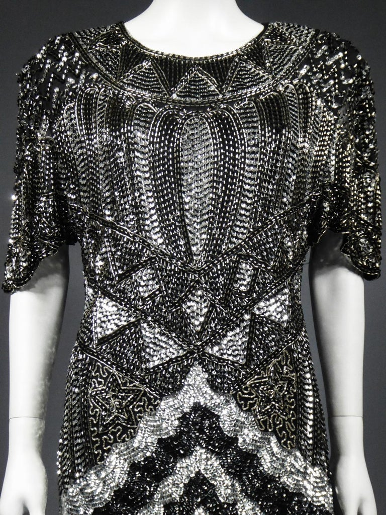 Music-Hall Evening Dress Embroidered with Black and Silver Sequins Circa 1980 For Sale 2