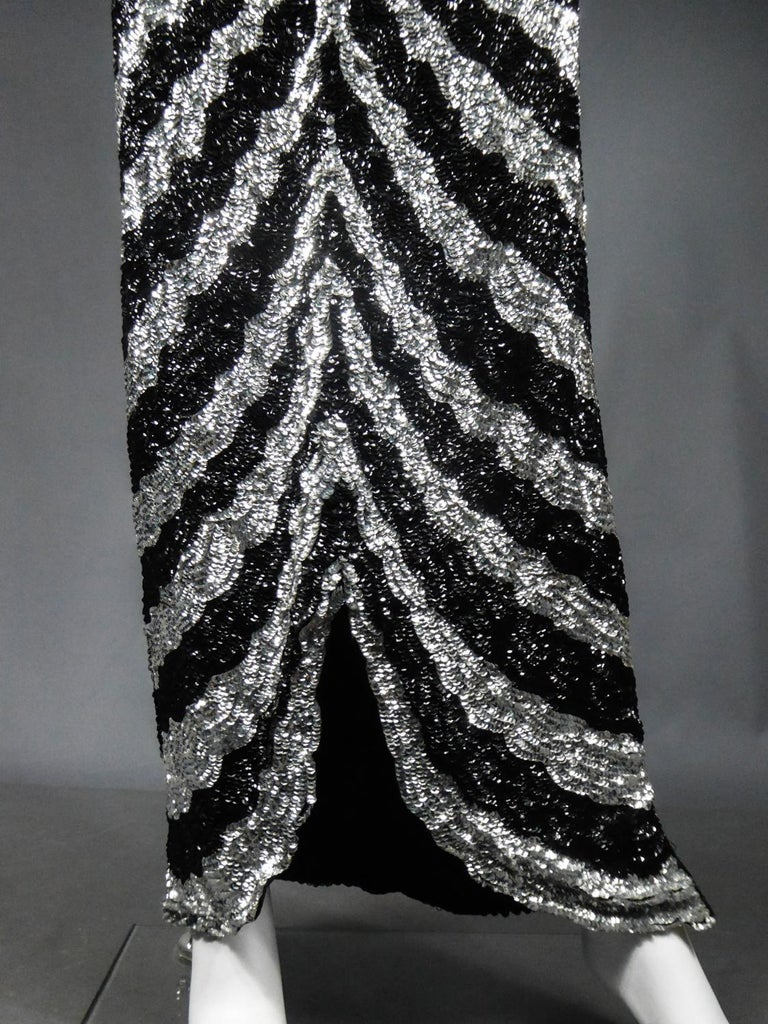 Music-Hall Evening Dress Embroidered with Black and Silver Sequins Circa 1980 For Sale 4