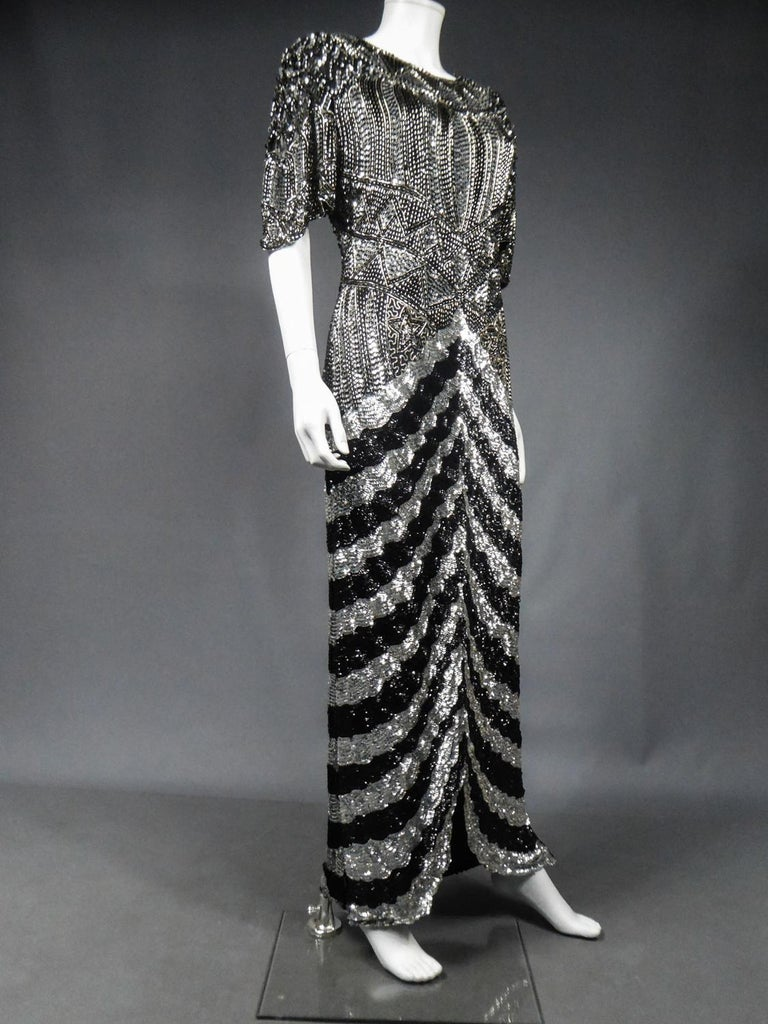 Music-Hall Evening Dress Embroidered with Black and Silver Sequins Circa 1980 For Sale 5