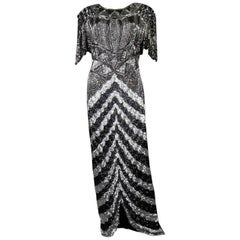Music-Hall Evening Dress Embroidered with Black and Silver Sequins Circa 1980