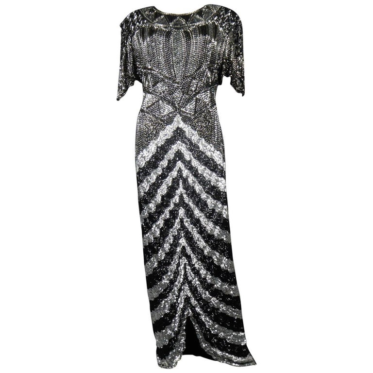 Music-Hall Evening Dress Embroidered with Black and Silver Sequins Circa 1980 For Sale