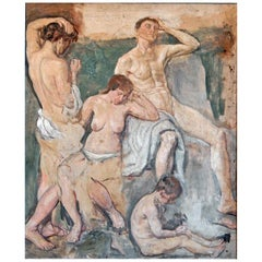 """""""Music,"""" High Accomplished Painting with Multiple Nudes by Conner, 1946"""