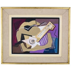 Music, Cubist Collage with Guitar and Staff Paper by Antonio Huberti, 1940