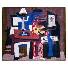"""""""Musicus con Mascaras"""", Large Wool Tapestry after Pablo Picasso"""
