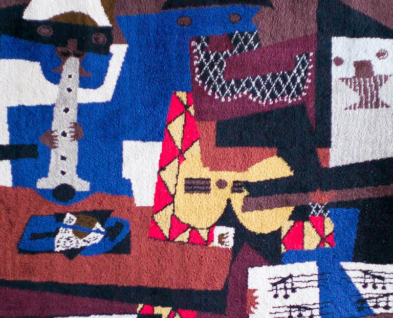 A fine wool carpet by Picasso, woven into short pile tapestry. After the painting in the Museum of Modern Art, New York. From the limited edition of 500, manufactured and published by Desso, Netherlands, under the license of Succession Picasso,