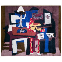 """""""Musicus con Mascaras"""" Wool Tapestry after Pablo Picasso"""