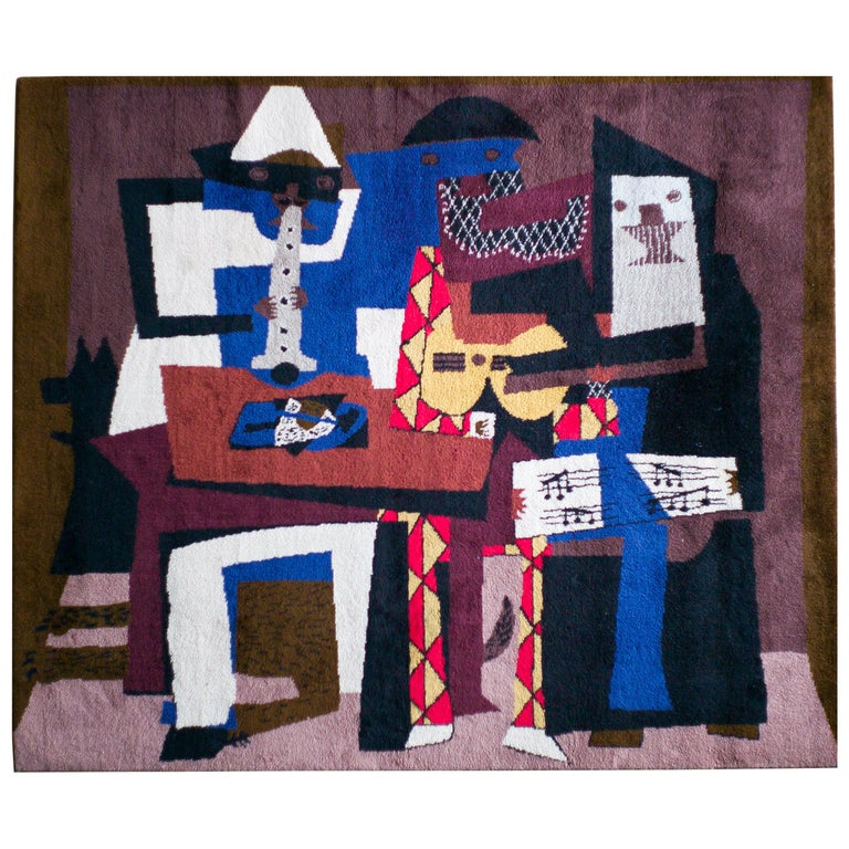 """""""Musicus con Mascaras"""" Wool Tapestry after Pablo Picasso For Sale"""