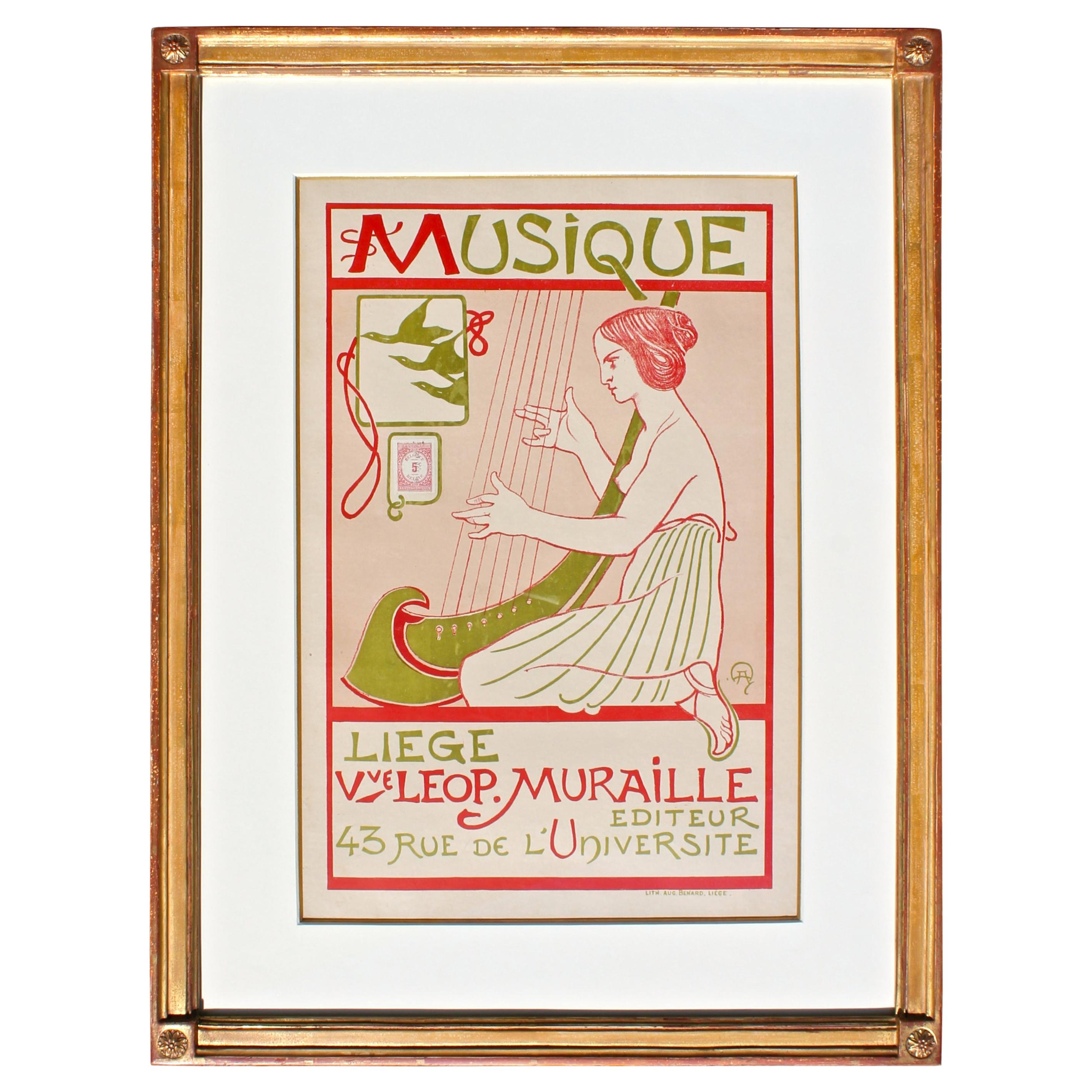 """Musique Liege"" Belgium Art Nouveau Poster c.1895 manner Alphonse Mucha"