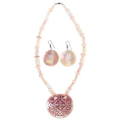 Mussel Shell Pendant and Earrings Set
