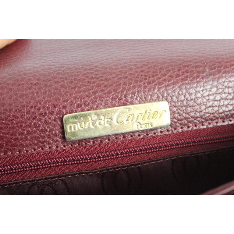 Must De Cartier Burgundy Leather Shoulder Bag 1980s 5