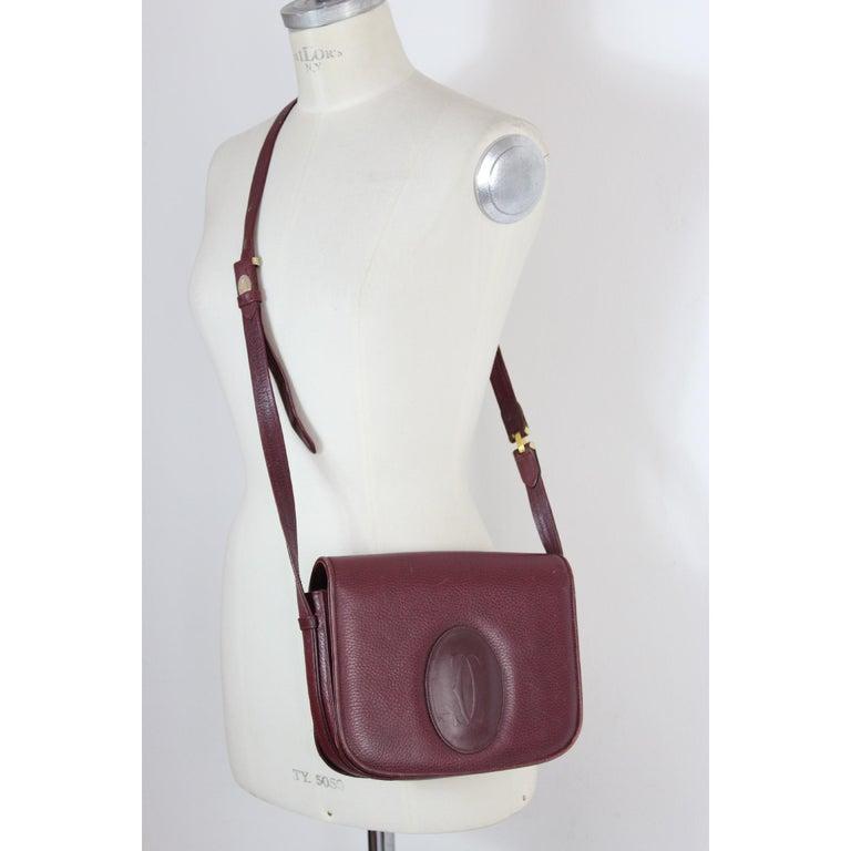 Brown Must De Cartier Burgundy Leather Shoulder Bag 1980s
