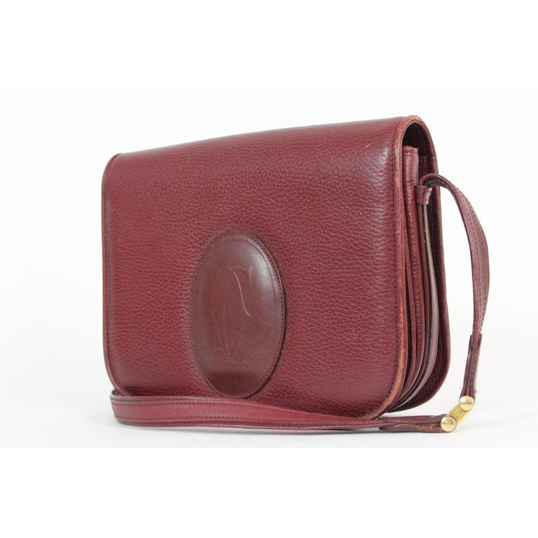 Women's Must De Cartier Burgundy Leather Shoulder Bag 1980s