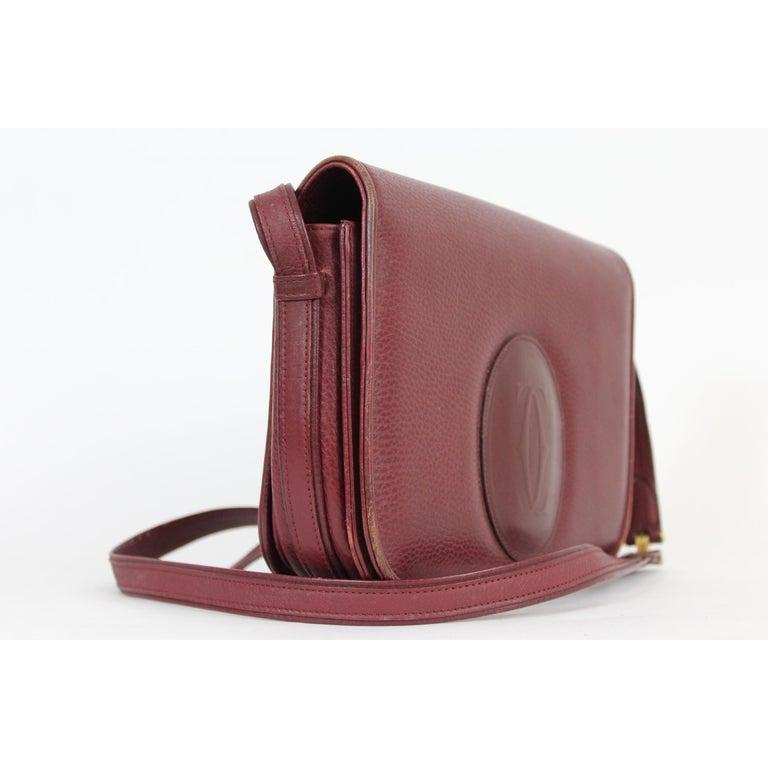 Must De Cartier Burgundy Leather Shoulder Bag 1980s 1