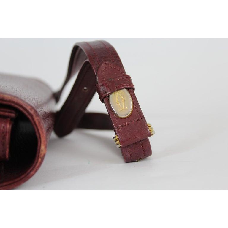 Must De Cartier Burgundy Leather Shoulder Bag 1980s 3