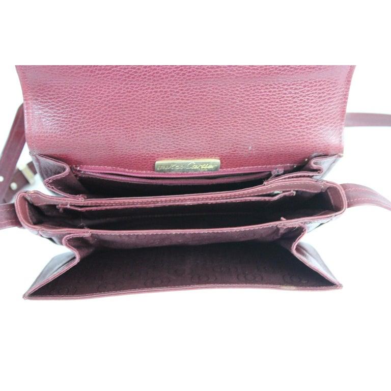 Must De Cartier Burgundy Leather Shoulder Bag 1980s 4