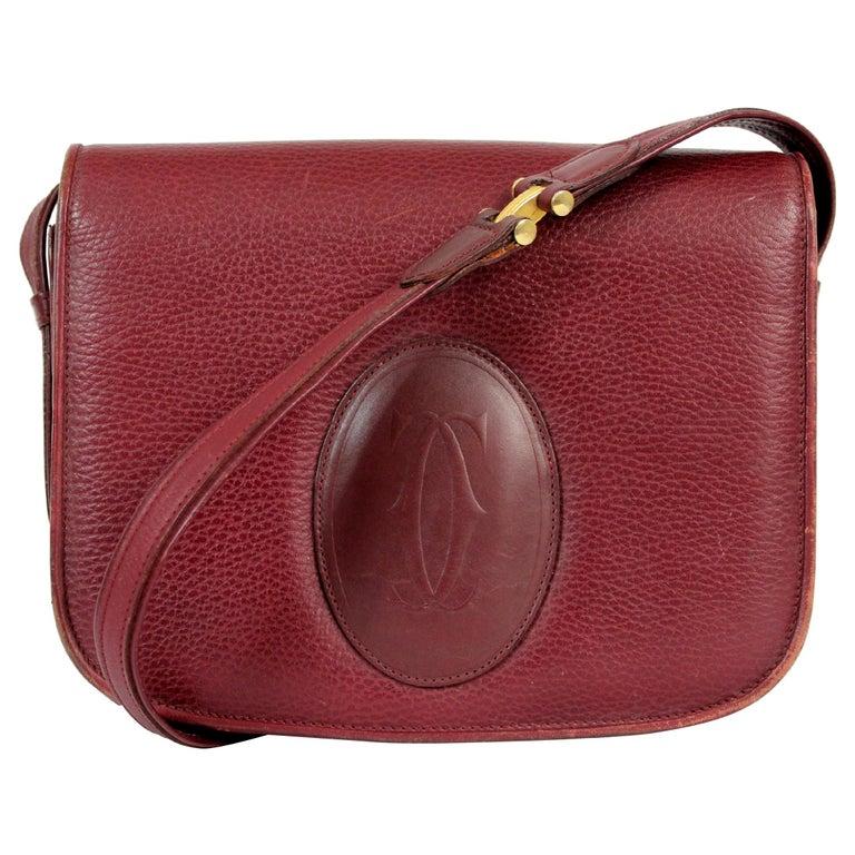 Must De Cartier Burgundy Leather Shoulder Bag 1980s