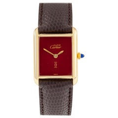 Must de Cartier Gold-Plated Women's Tank Hand-Winding Watch w/ Burgundy Dial