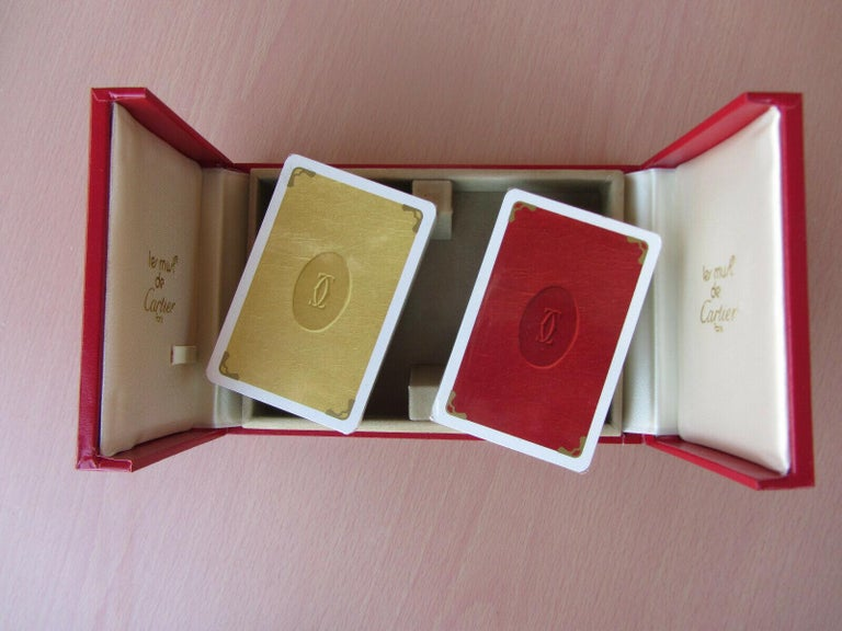 Must de Cartier Paris Vintage Playing Poker or Bridge Cards in Red Original Box In Good Condition For Sale In North Hollywood, CA