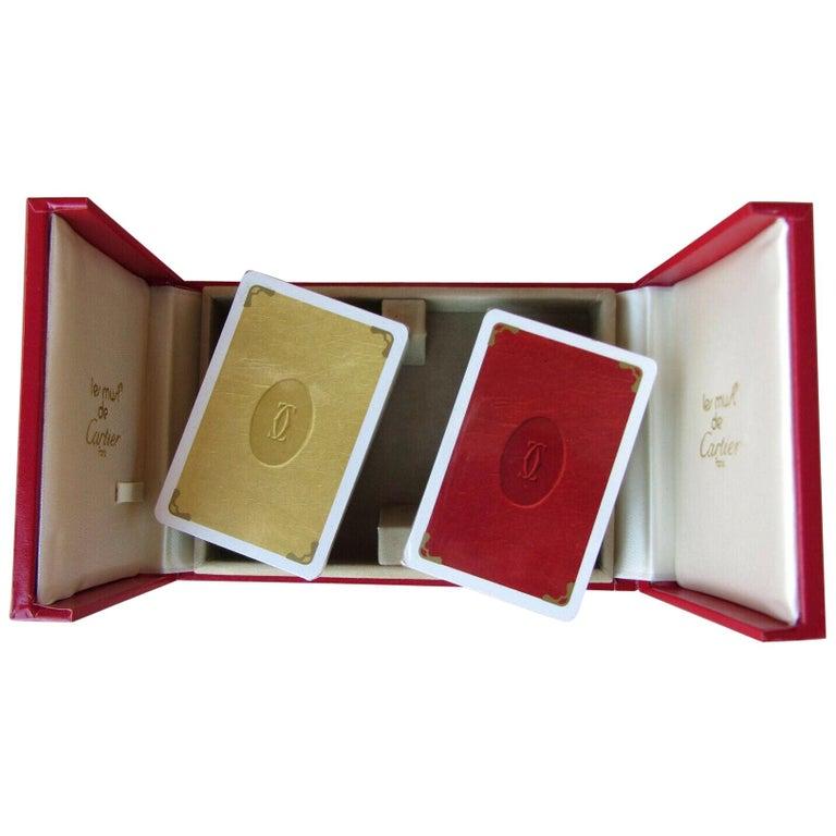 Must de Cartier Paris Vintage Playing Poker or Bridge Cards in Red Original Box For Sale