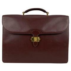 Must De Cartier Vintage Burgundy Leather Briefcase Work Business Bag