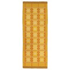 """Mustard Color Signed """"M L B"""" Vintage Swedish Wool Runner Kilim, 1920-1950"""