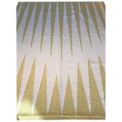 Yellow & Beige Wool Handloom/Dhurrie Rug by Cecilia Setterdahl for Carpets CC