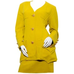 Mustard yellow Christian Lacroix  work suit in freeze wool size 42