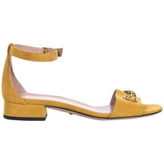 Gucci Mustard Yellow Suede Flat Sandals