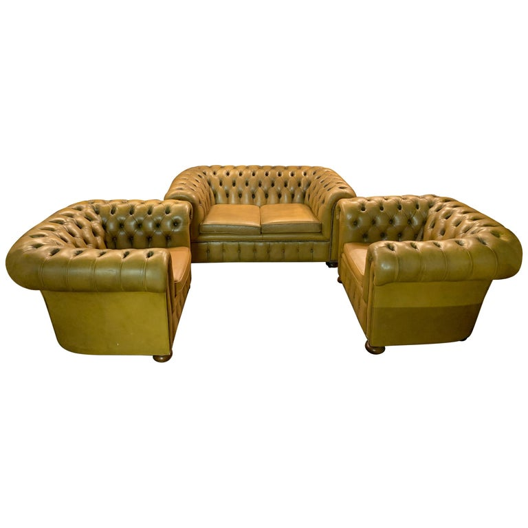 Mustard Yellow Leather Chesterfield Club Suite Armchair and Sofa For Sale