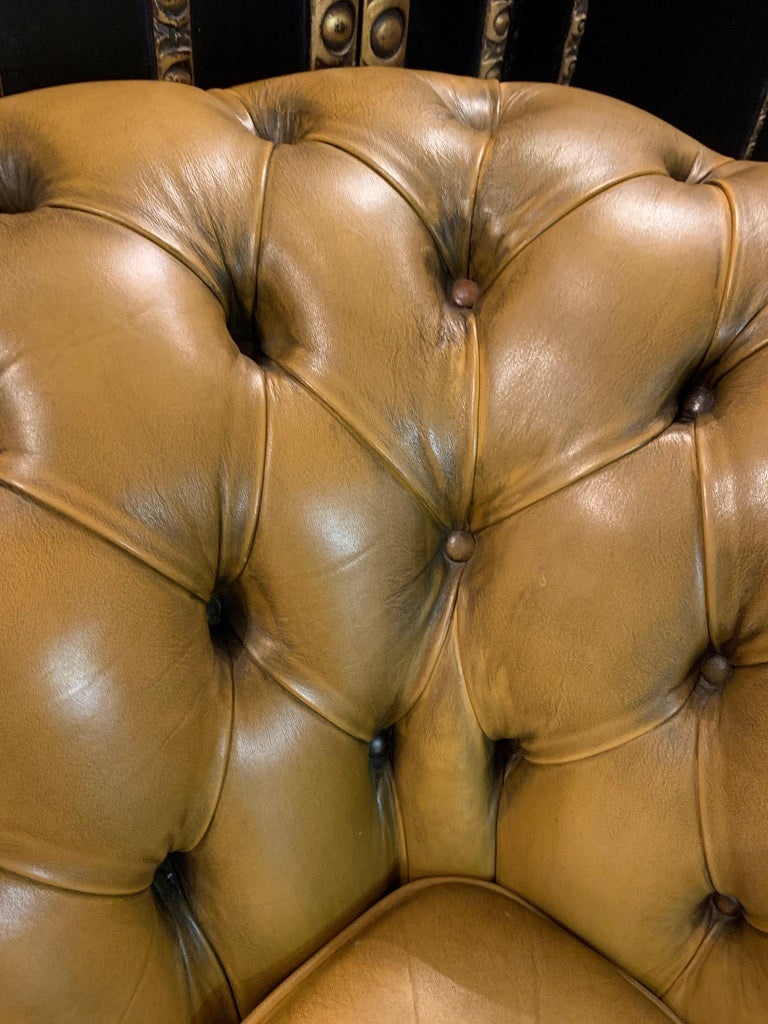Mustard Yellow Leather Chesterfield Club Suite Armchair and Sofa For Sale 5