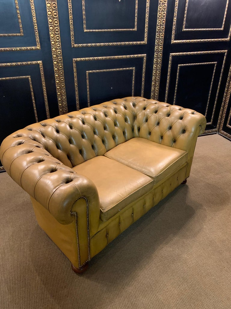 Mustard Yellow Leather Chesterfield Club Suite Armchair and Sofa For Sale 6