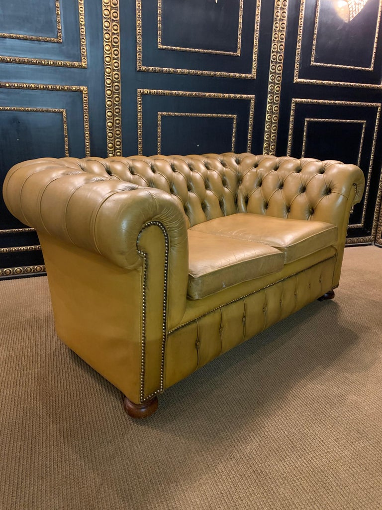 Mustard Yellow Leather Chesterfield Club Suite Armchair and Sofa For Sale 7
