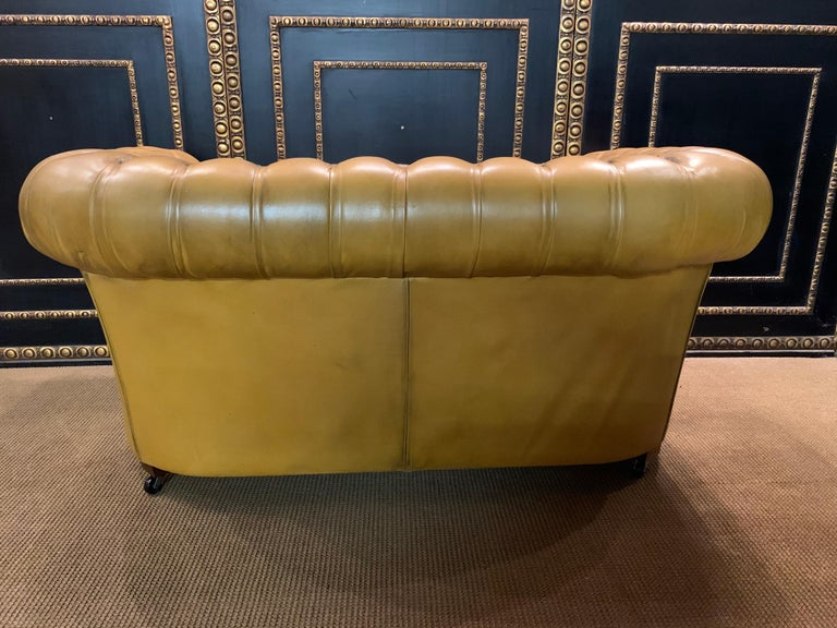 Mustard Yellow Leather Chesterfield Club Suite Armchair and Sofa For Sale 8
