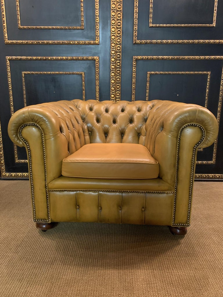 Mustard Yellow Leather Chesterfield Club Suite Armchair and Sofa For Sale 10