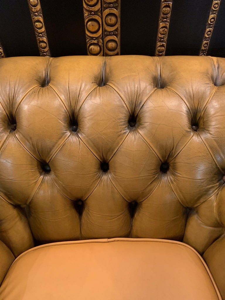 Mustard Yellow Leather Chesterfield Club Suite Armchair and Sofa For Sale 12